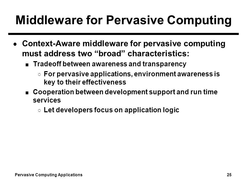Pervasive Computing Applications 25 Middleware for Pervasive Computing Context-Aware middleware for pervasive computing must address two broad charact