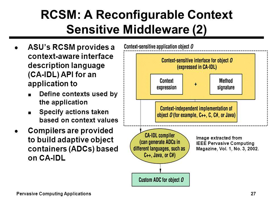 Pervasive Computing Applications 27 RCSM: A Reconfigurable Context Sensitive Middleware (2) ASUs RCSM provides a context-aware interface description l