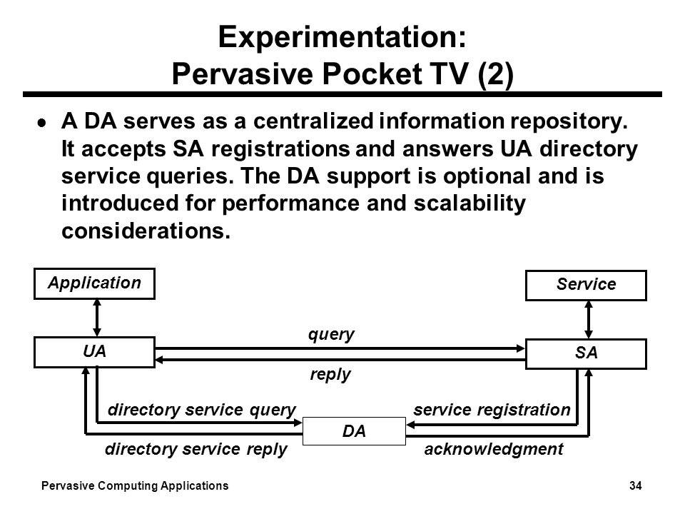 Pervasive Computing Applications 34 Experimentation: Pervasive Pocket TV (2) A DA serves as a centralized information repository. It accepts SA regist