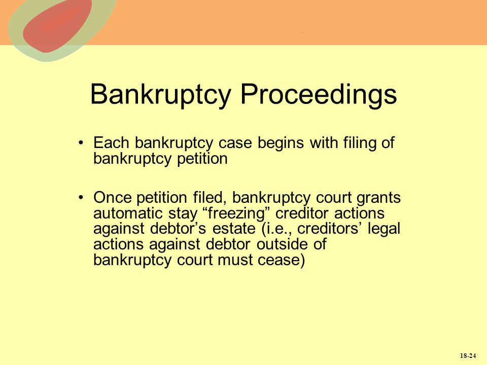 18-24 Bankruptcy Proceedings Each bankruptcy case begins with filing of bankruptcy petition Once petition filed, bankruptcy court grants automatic sta
