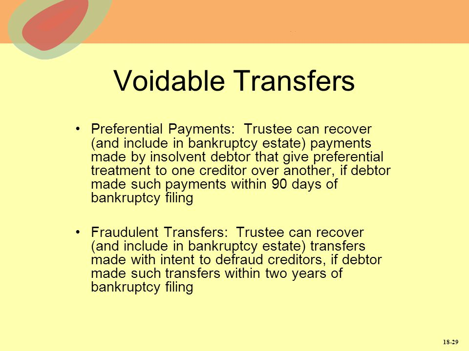 18-29 Voidable Transfers Preferential Payments: Trustee can recover (and include in bankruptcy estate) payments made by insolvent debtor that give pre