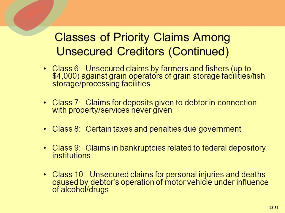 18-31 Classes of Priority Claims Among Unsecured Creditors (Continued) Class 6: Unsecured claims by farmers and fishers (up to $4,000) against grain o