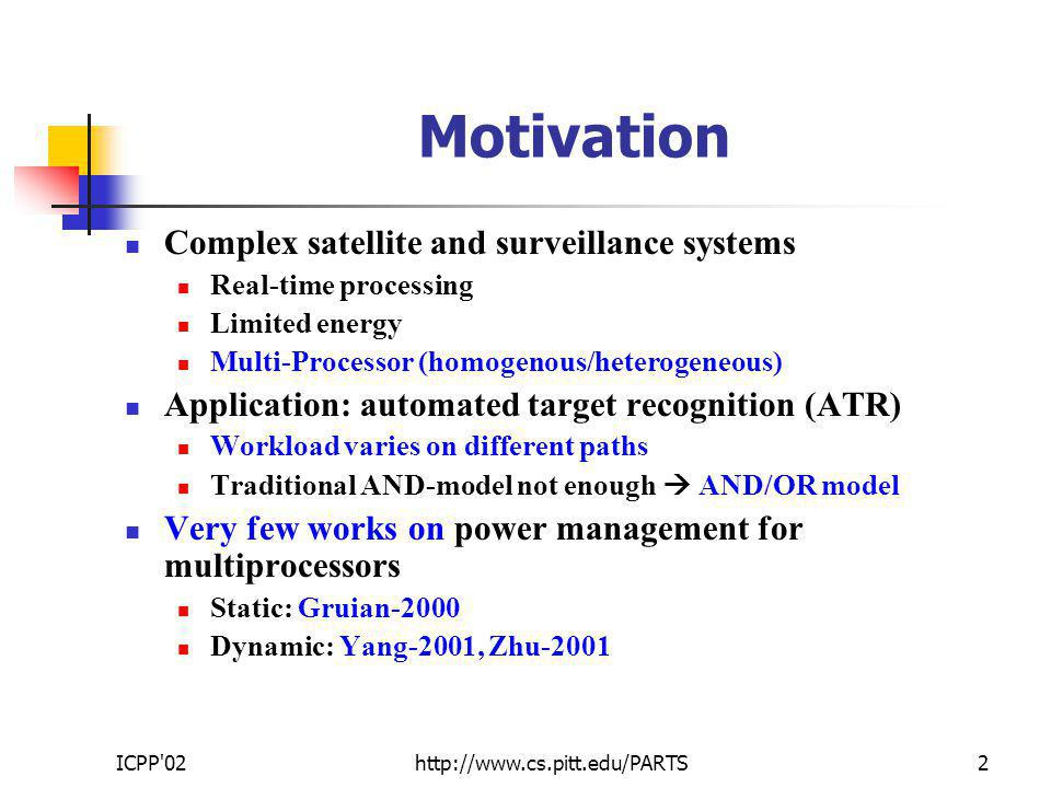 ICPP 02http://www.cs.pitt.edu/PARTS2 Motivation Complex satellite and surveillance systems Real-time processing Limited energy Multi-Processor (homogenous/heterogeneous) Application: automated target recognition (ATR) Workload varies on different paths Traditional AND-model not enough AND/OR model Very few works on power management for multiprocessors Static: Gruian-2000 Dynamic: Yang-2001, Zhu-2001
