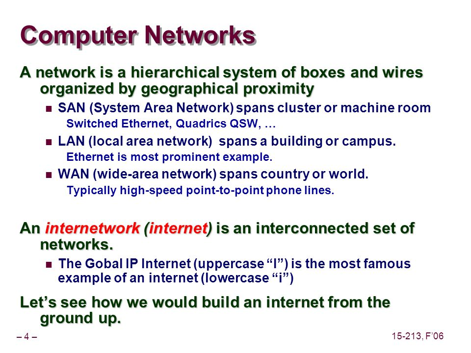 – 4 – 15-213, F06 Computer Networks A network is a hierarchical system of boxes and wires organized by geographical proximity SAN (System Area Network) spans cluster or machine room Switched Ethernet, Quadrics QSW, … LAN (local area network) spans a building or campus.