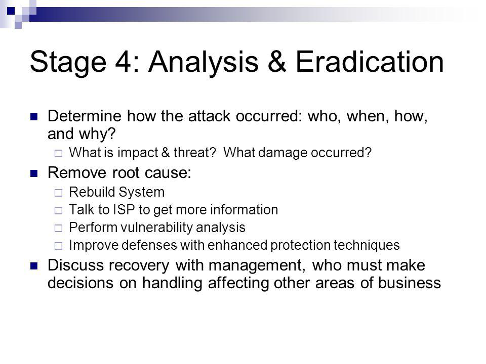 Stage 4: Analysis & Eradication Determine how the attack occurred: who, when, how, and why? What is impact & threat? What damage occurred? Remove root