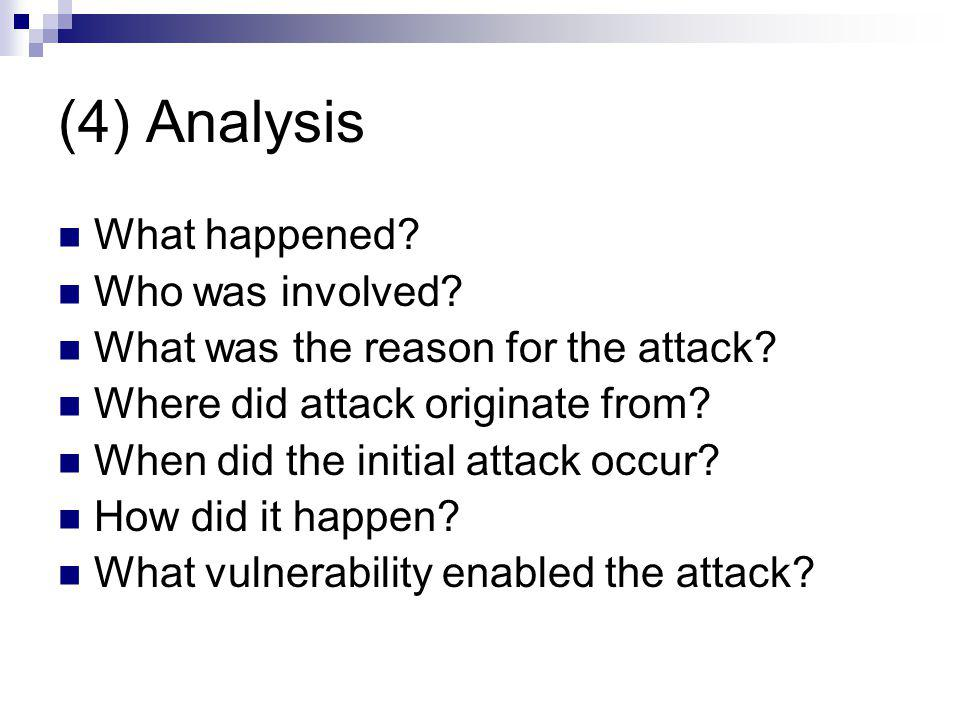 (4) Analysis What happened? Who was involved? What was the reason for the attack? Where did attack originate from? When did the initial attack occur?