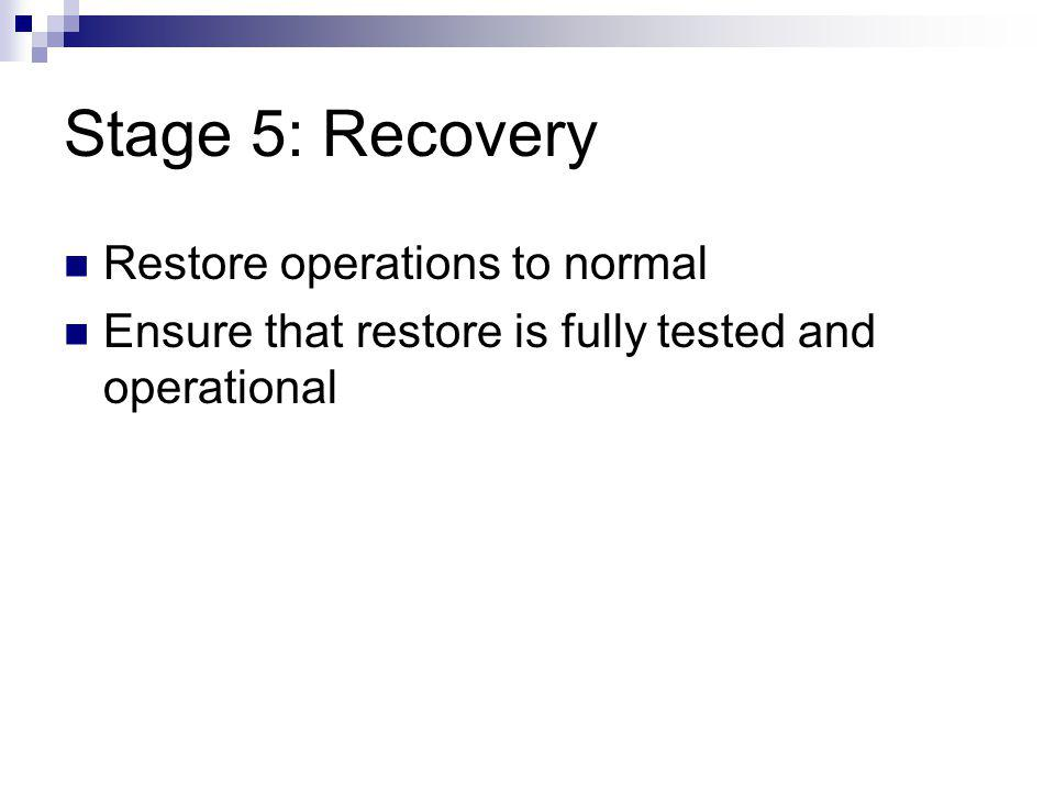 Stage 5: Recovery Restore operations to normal Ensure that restore is fully tested and operational