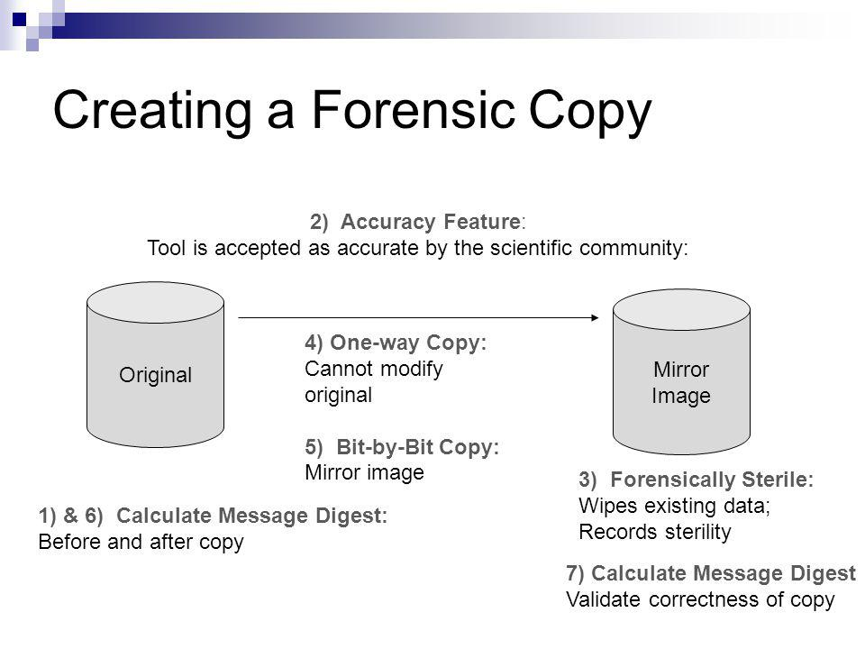 Creating a Forensic Copy Original Mirror Image 3) Forensically Sterile: Wipes existing data; Records sterility 4) One-way Copy: Cannot modify original