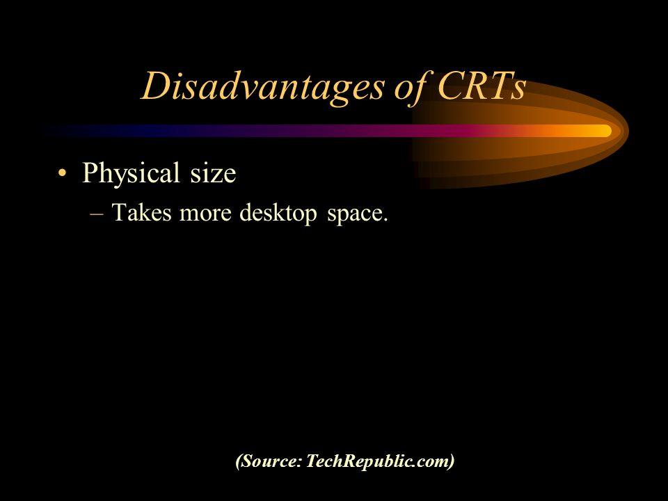 Disadvantages of CRTs Physical size –Takes more desktop space. (Source: TechRepublic.com)