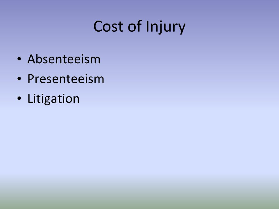Cost of Injury Absenteeism Presenteeism Litigation