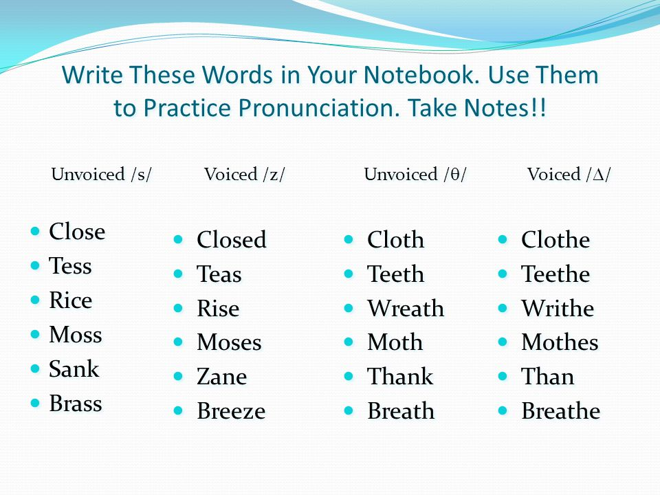 Write These Words in Your Notebook. Use Them to Practice Pronunciation.
