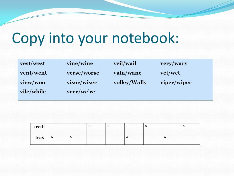 Copy into your notebook: vest/westvine/wineveil/wailvery/wary vent/wentverse/worsevain/wanevet/wet view/woovisor/wiservolley/Wallyviper/wiper vile/whileveer/were vest/westvine/wineveil/wailvery/wary vent/wentverse/worsevain/wanevet/wet view/woovisor/wiservolley/Wallyviper/wiper vile/whileveer/were teeth xxxx teas xxxx
