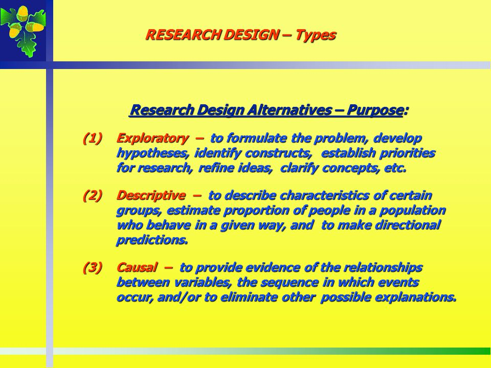 RESEARCH DESIGN – Types Research Design Alternatives – Purpose: Research Design Alternatives – Purpose: (1)Exploratory – to formulate the problem, dev