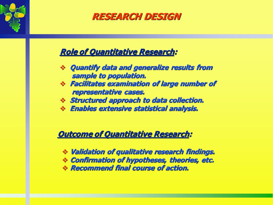 Role of Quantitative Research: Quantify data and generalize results from Quantify data and generalize results from sample to population. sample to pop