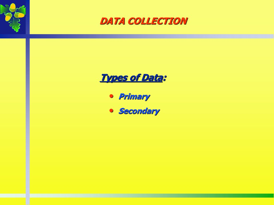 DATA COLLECTION Types of Data: Types of Data: Primary Primary Secondary Secondary