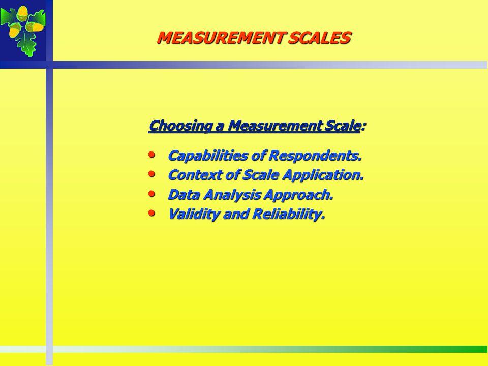 Choosing a Measurement Scale: Capabilities of Respondents. Capabilities of Respondents. Context of Scale Application. Context of Scale Application. Da