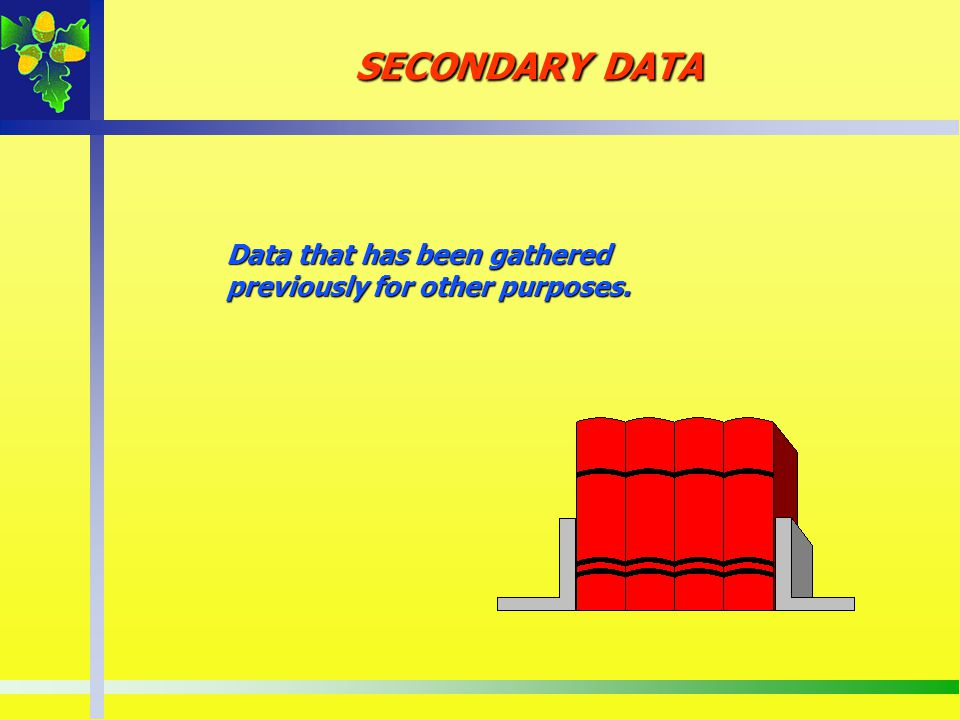 SECONDARY DATA Data that has been gathered previously for other purposes.
