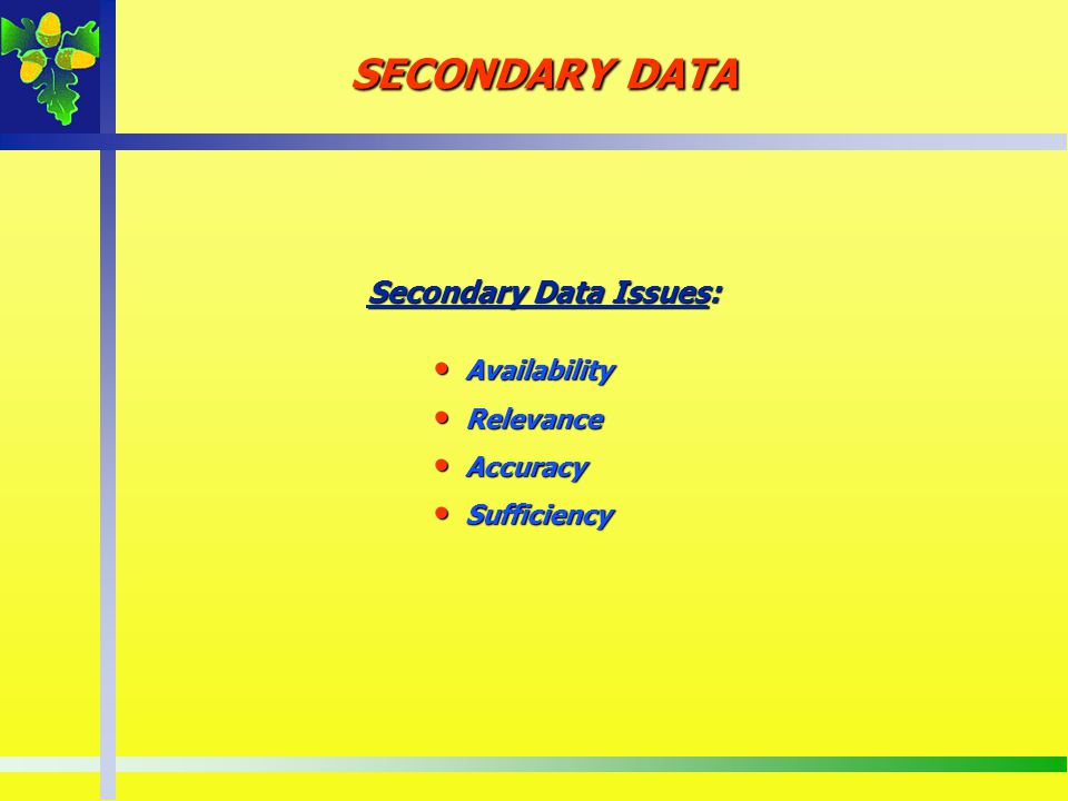SECONDARY DATA Secondary Data Issues: Availability Availability Relevance Relevance Accuracy Accuracy Sufficiency Sufficiency