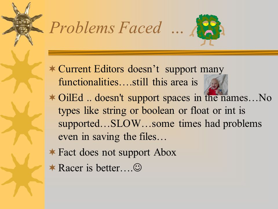 Problems Faced … Current Editors doesnt support many functionalities….still this area is OilEd..