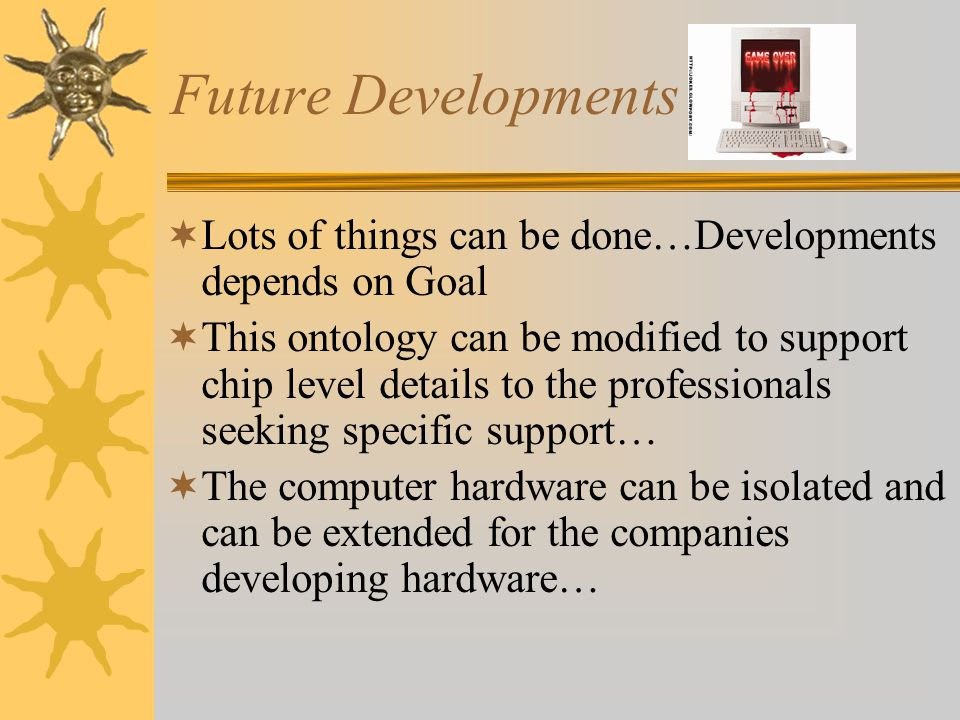 Future Developments Lots of things can be done…Developments depends on Goal This ontology can be modified to support chip level details to the professionals seeking specific support… The computer hardware can be isolated and can be extended for the companies developing hardware…