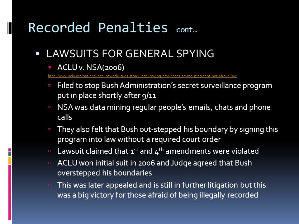 LAWSUITS FOR GENERAL SPYING ACLU v.