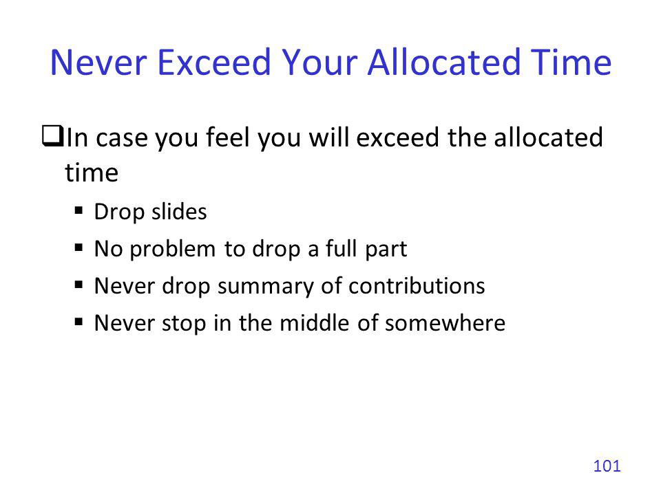 Never Exceed Your Allocated Time In case you feel you will exceed the allocated time Drop slides No problem to drop a full part Never drop summary of