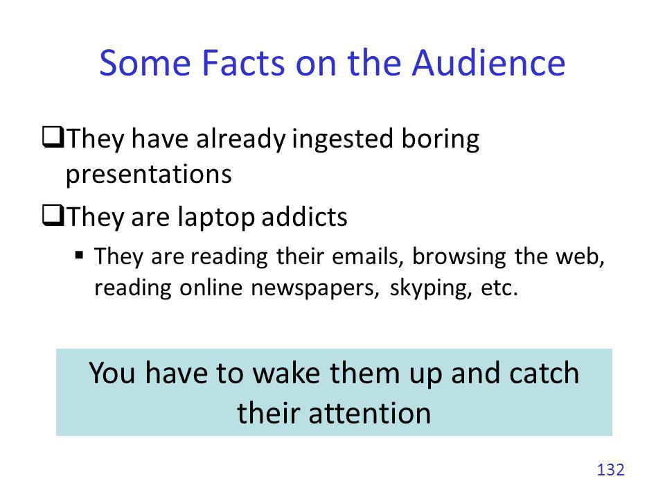 Some Facts on the Audience They have already ingested boring presentations They are laptop addicts They are reading their emails, browsing the web, re