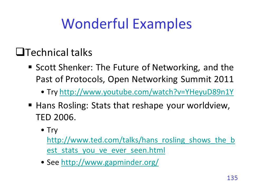Wonderful Examples Technical talks Scott Shenker: The Future of Networking, and the Past of Protocols, Open Networking Summit 2011 Try http://www.yout