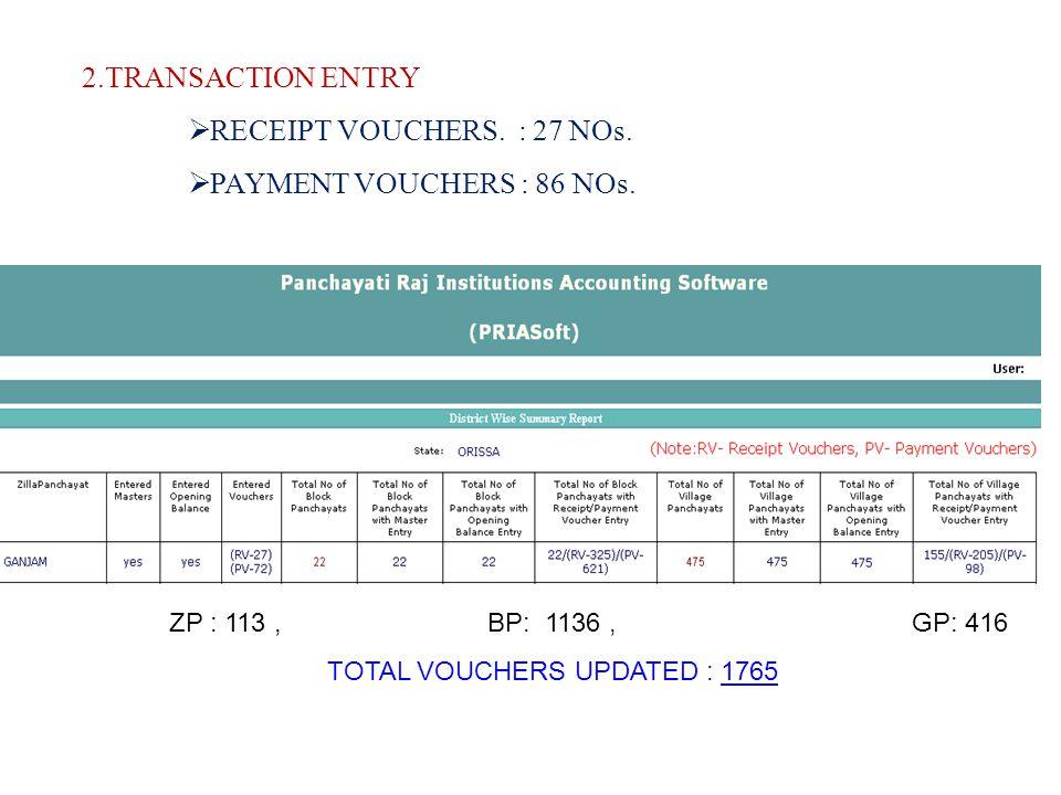 2.TRANSACTION ENTRY RECEIPT VOUCHERS. : 27 NOs. PAYMENT VOUCHERS : 86 NOs.