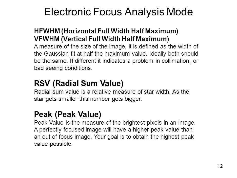 12 Electronic Focus Analysis Mode HFWHM (Horizontal Full Width Half Maximum) VFWHM (Vertical Full Width Half Maximum) A measure of the size of the ima