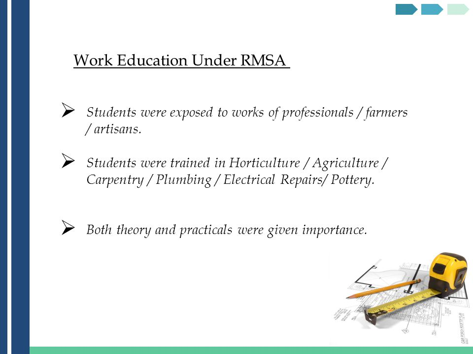 Work Education Under RMSA Students were exposed to works of professionals / farmers / artisans.