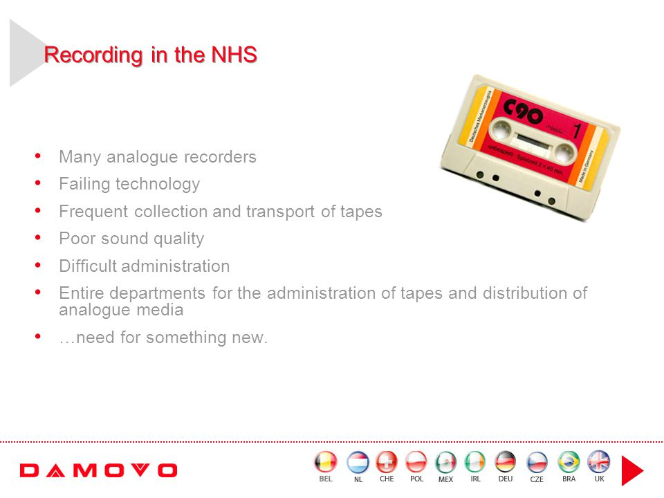 Recording in the NHS Many analogue recorders Failing technology Frequent collection and transport of tapes Poor sound quality Difficult administration Entire departments for the administration of tapes and distribution of analogue media …need for something new.