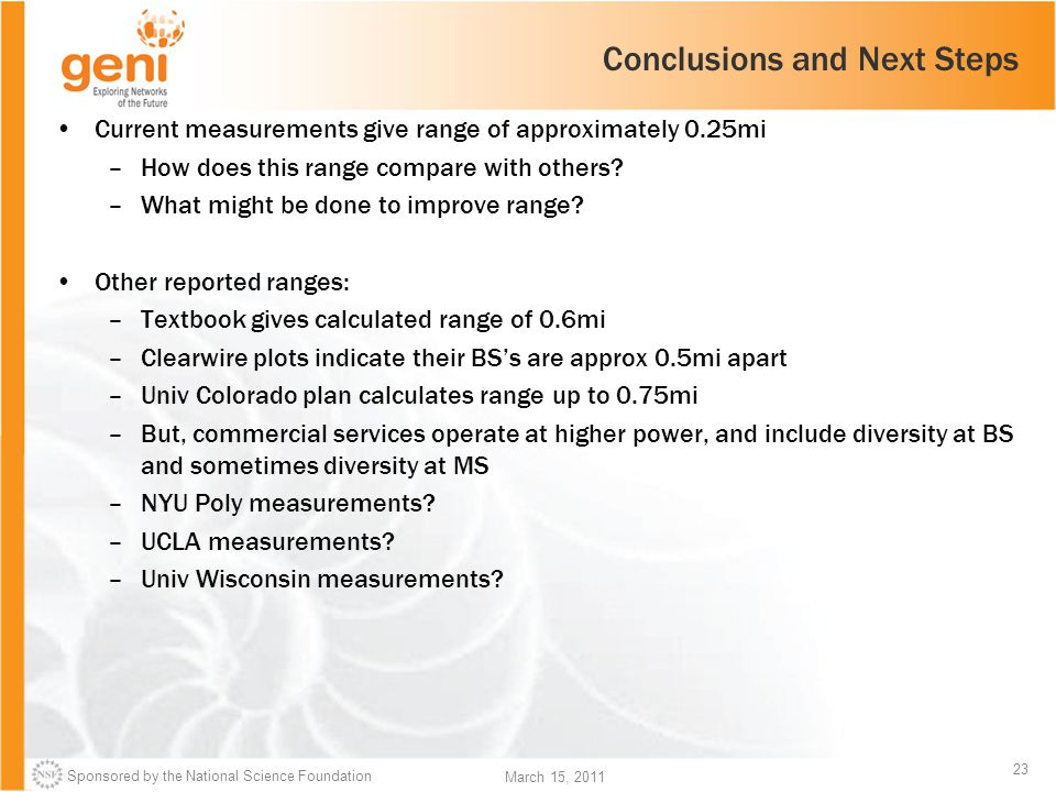 Sponsored by the National Science Foundation 23 March 15, 2011 Conclusions and Next Steps Current measurements give range of approximately 0.25mi –How