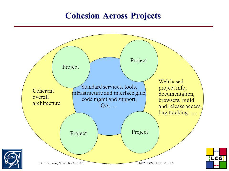 Torre Wenaus, BNL/CERN LCG Seminar, November 6, 2002 Slide 10 Standard services, tools, infrastructure and interface glue, code mgmt and support, QA,