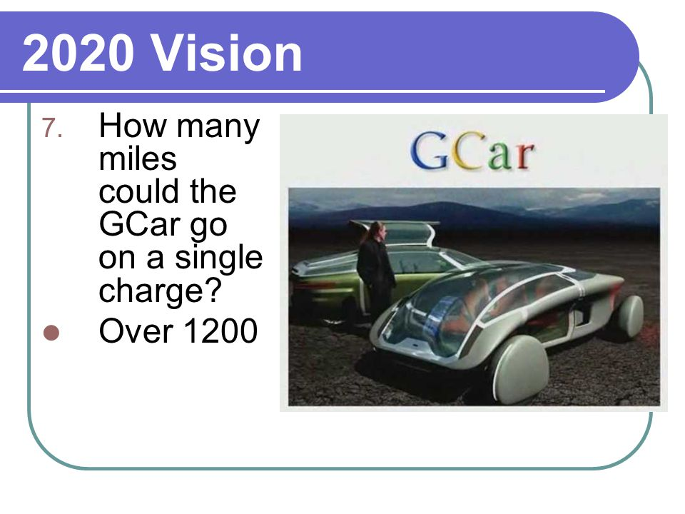 2020 Vision 7. How many miles could the GCar go on a single charge Over 1200