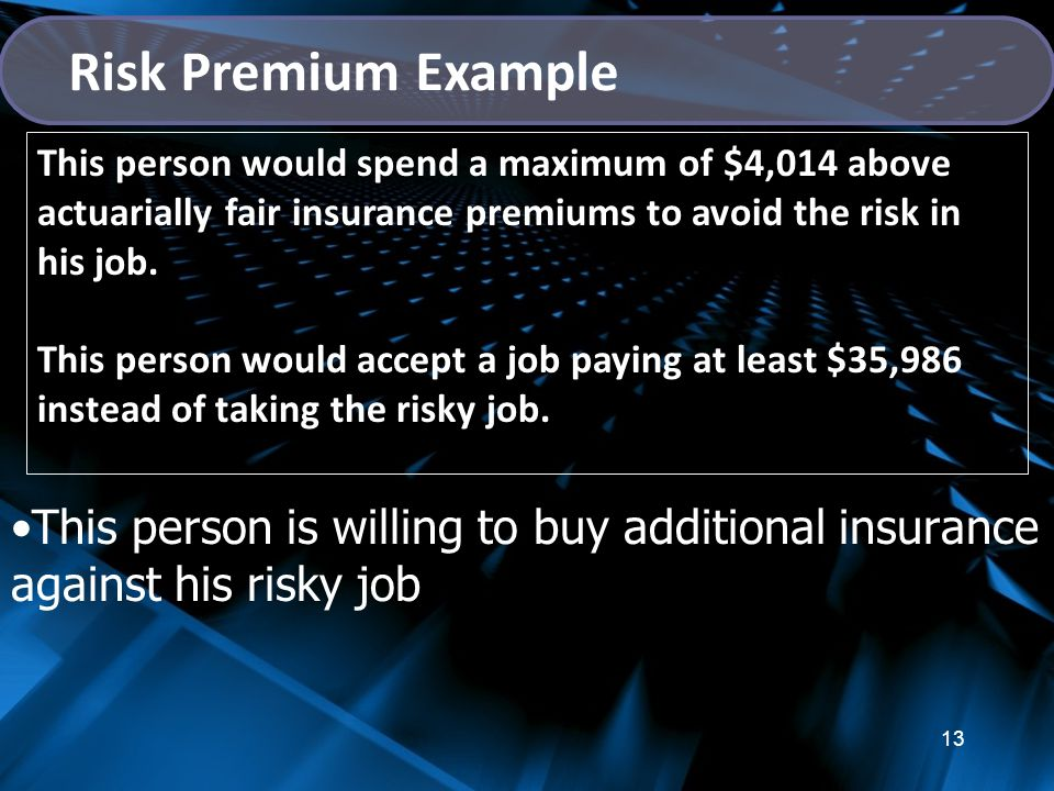 13 This person would spend a maximum of $4,014 above actuarially fair insurance premiums to avoid the risk in his job.