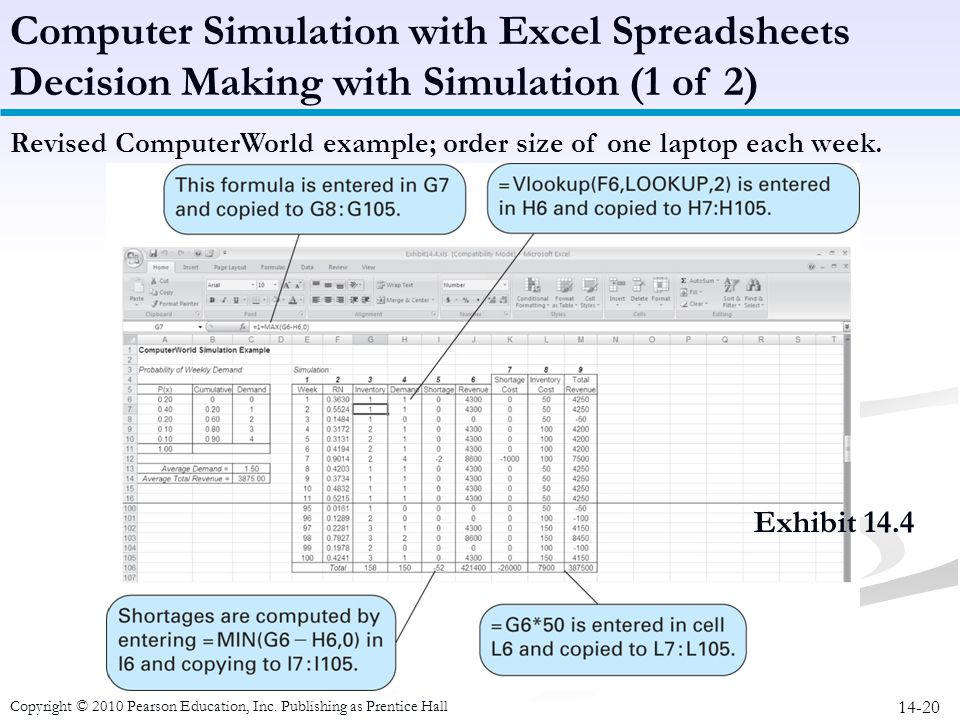 14-20 Revised ComputerWorld example; order size of one laptop each week. Computer Simulation with Excel Spreadsheets Decision Making with Simulation (
