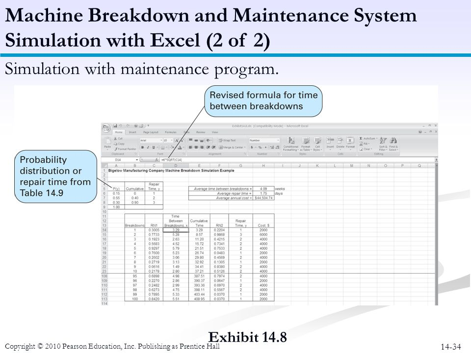 14-34 Exhibit 14.8 Machine Breakdown and Maintenance System Simulation with Excel (2 of 2) Simulation with maintenance program. Copyright © 2010 Pears