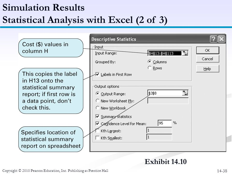 14-38 Simulation Results Statistical Analysis with Excel (2 of 3) Copyright © 2010 Pearson Education, Inc. Publishing as Prentice Hall Exhibit 14.10
