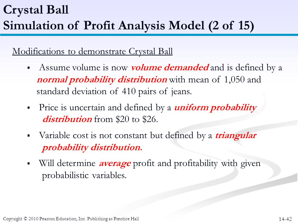 14-42 Modifications to demonstrate Crystal Ball Assume volume is now volume demanded and is defined by a normal probability distribution with mean of