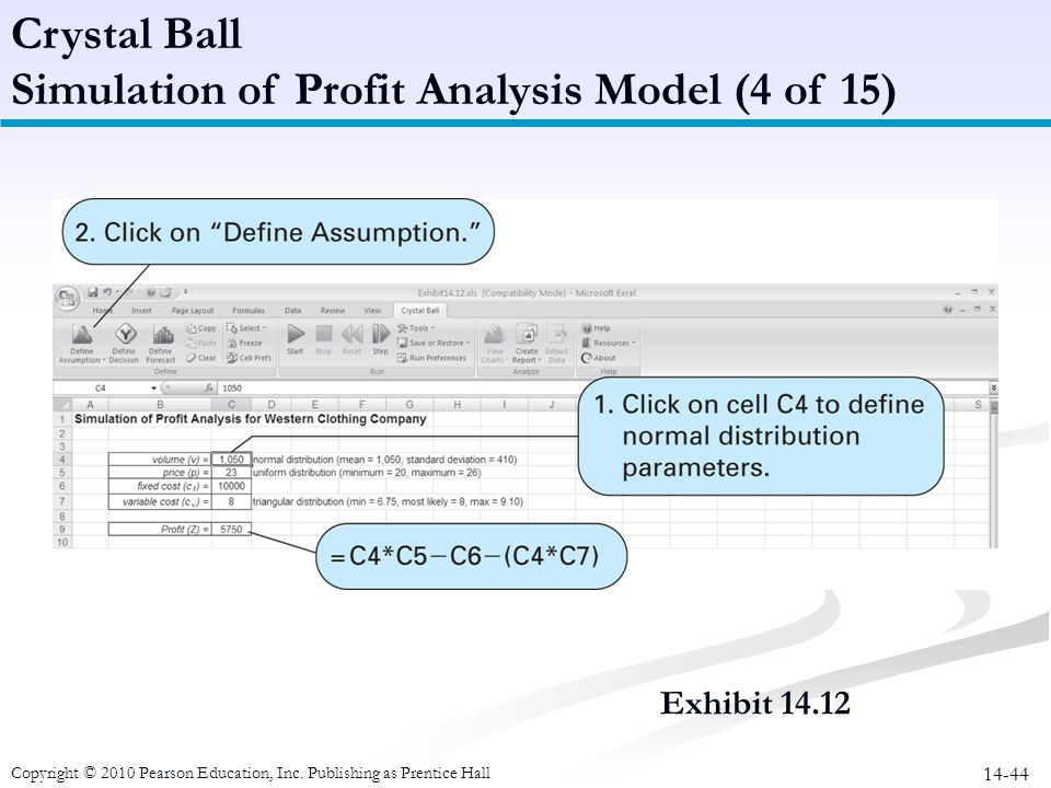 14-44 Crystal Ball Simulation of Profit Analysis Model (4 of 15) Copyright © 2010 Pearson Education, Inc. Publishing as Prentice Hall Exhibit 14.12
