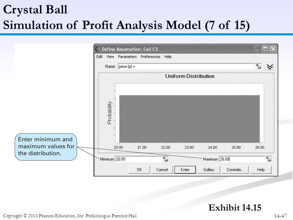 14-47 Crystal Ball Simulation of Profit Analysis Model (7 of 15) Copyright © 2010 Pearson Education, Inc. Publishing as Prentice Hall Exhibit 14.15