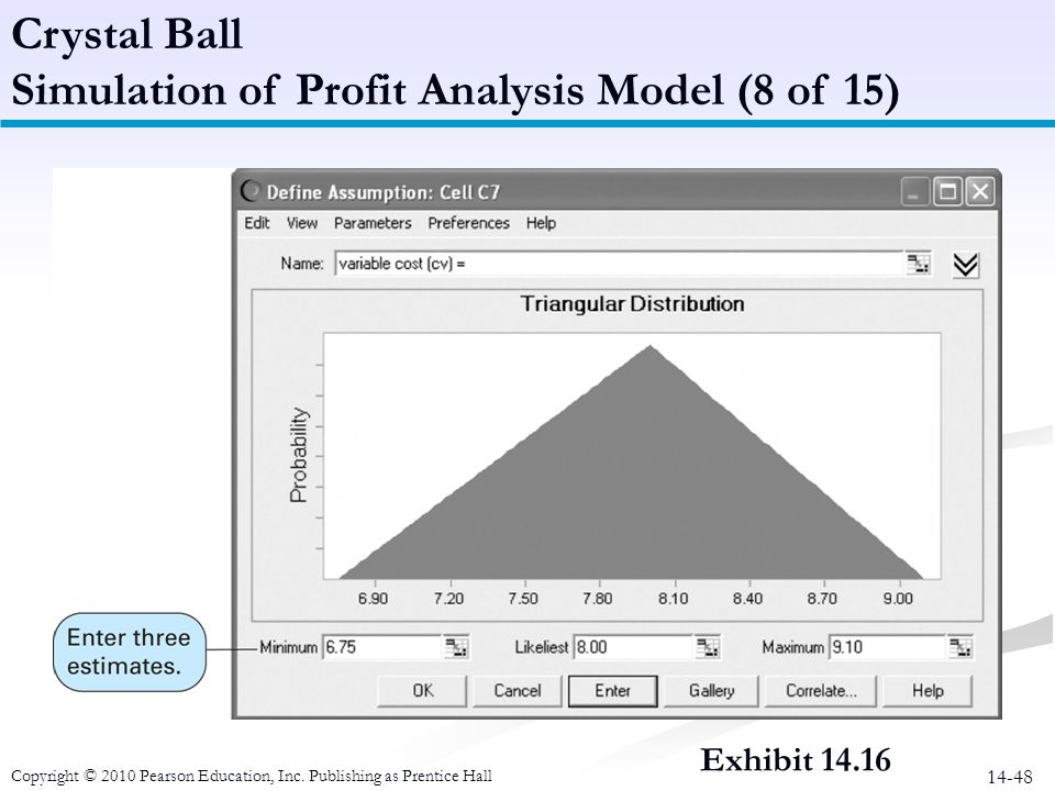14-48 Crystal Ball Simulation of Profit Analysis Model (8 of 15) Copyright © 2010 Pearson Education, Inc. Publishing as Prentice Hall Exhibit 14.16