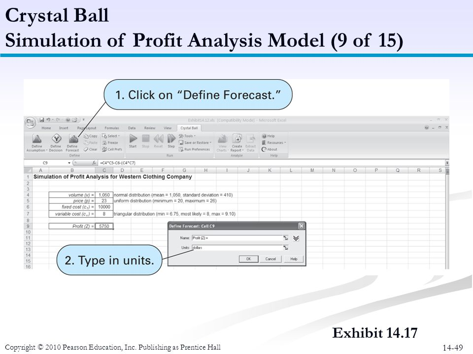 14-49 Crystal Ball Simulation of Profit Analysis Model (9 of 15) Copyright © 2010 Pearson Education, Inc. Publishing as Prentice Hall Exhibit 14.17
