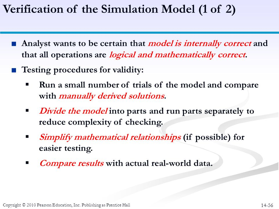 14-56 Analyst wants to be certain that model is internally correct and that all operations are logical and mathematically correct. Testing procedures