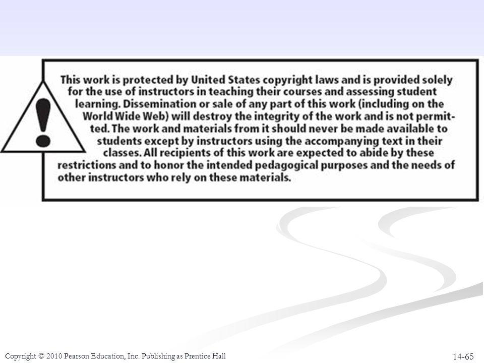14-65 Copyright © 2010 Pearson Education, Inc. Publishing as Prentice Hall