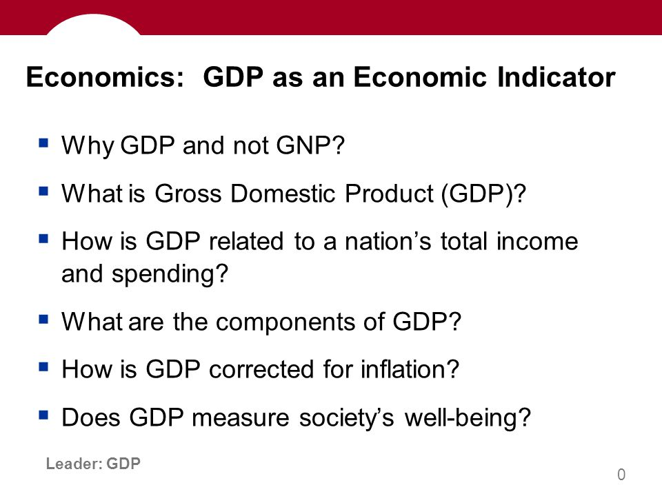 1 Leader: GDP …the market value of all final goods & services produced within a country in a given period of time.