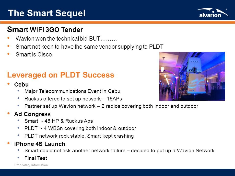 Proprietary Information. The Smart Sequel Sma rt WiFi 3GO Tender Wavion won the technical bid BUT……… Smart not keen to have the same vendor supplying