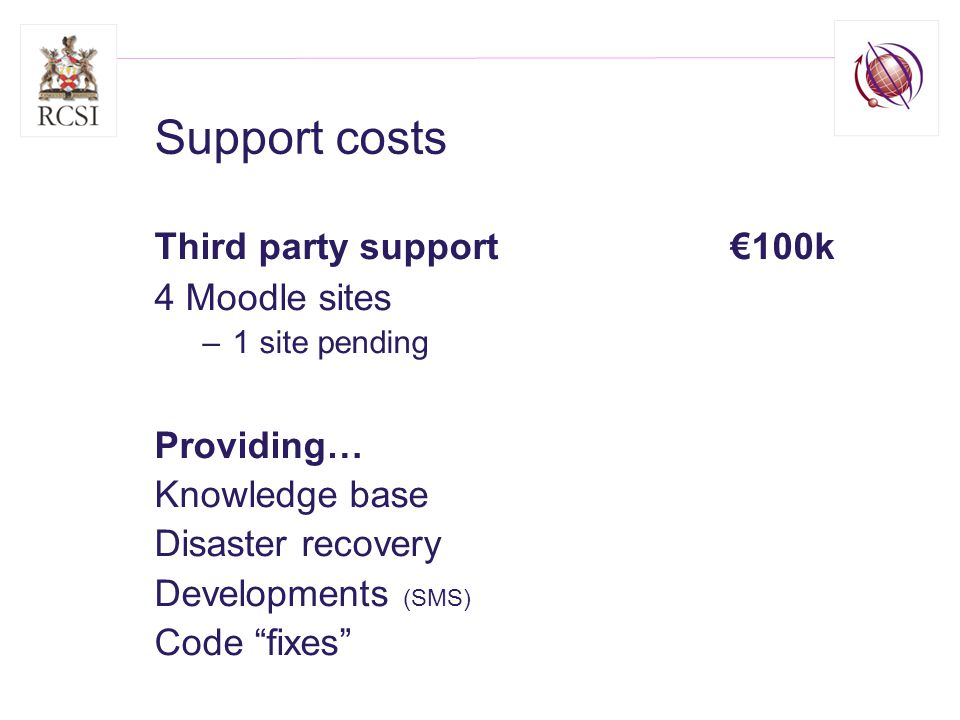 Support costs Third party support 100k 4 Moodle sites –1 site pending Providing… Knowledge base Disaster recovery Developments (SMS) Code fixes
