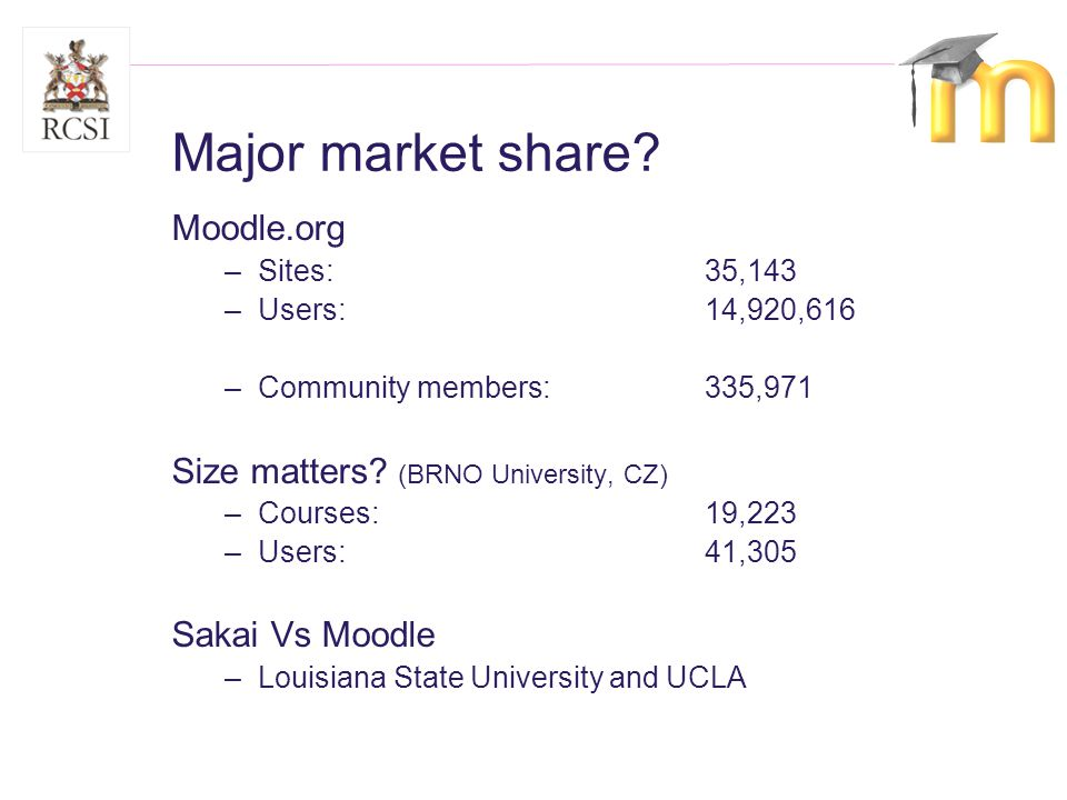 Moodle.org –Sites: 35,143 –Users: 14,920,616 –Community members: 335,971 Size matters.